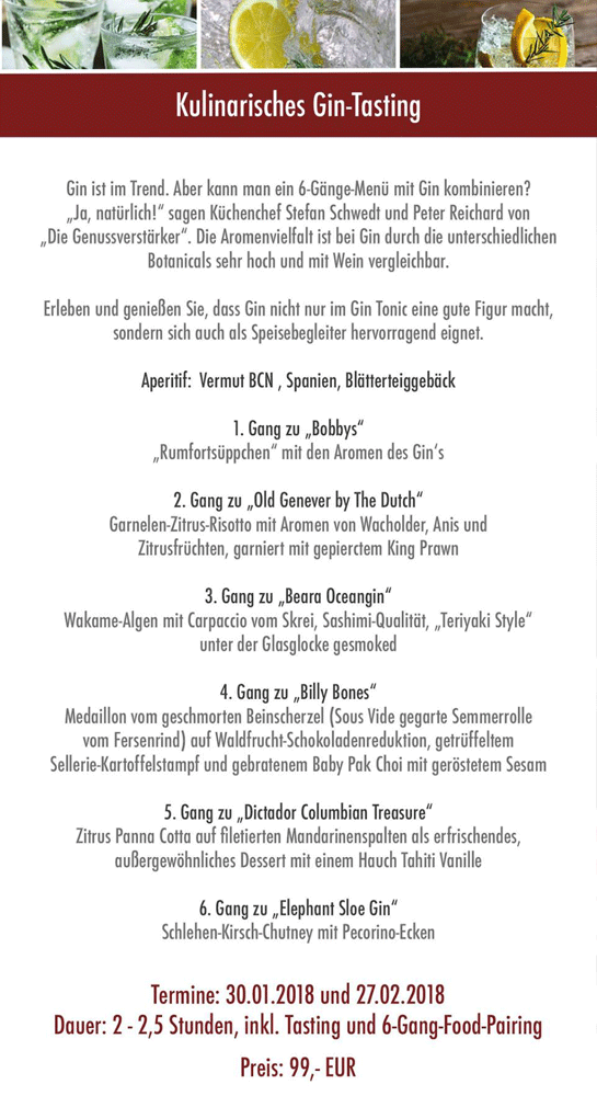 30.1. & 27.2.: Kulinarisches Gin-Tasting in der Gutsschänke ...