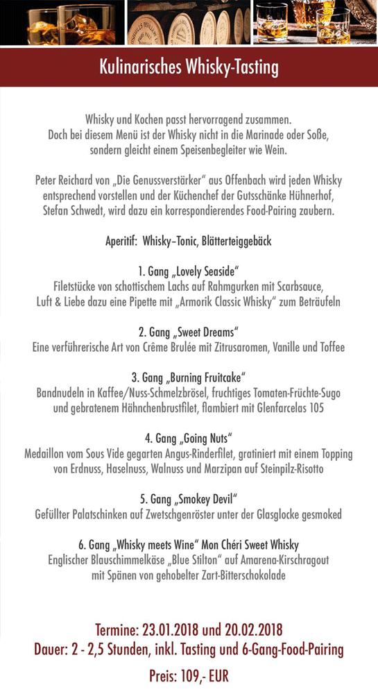 23.1. & 20.2.: Kulinarisches Whisky-Tasting in der Gutsschänke ...